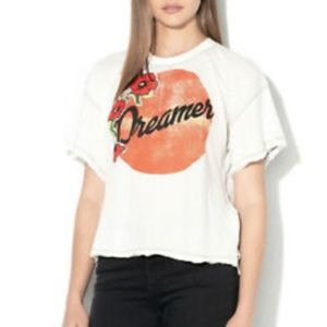 Free People Dreamer Short Sleeve Graphic Tee White